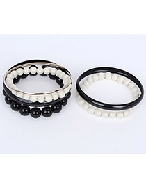 Automatic Black Pearl Decorated Multilayer Design Alloy Fashion Bangles