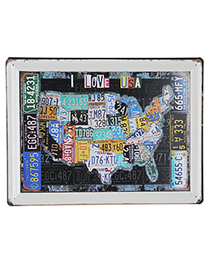 Etcetera Multicolor United States Map Pattern Simple Design Iron Household goods