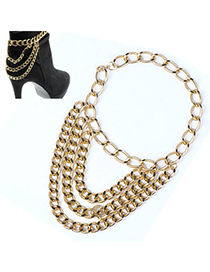 Wonderful Gold Color Multilayer Simple Design Alloy Fashion Anklets