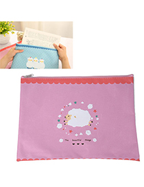 Used Pink Sheep Pattern Simple Design Oxford Pencil Case Paper Bags