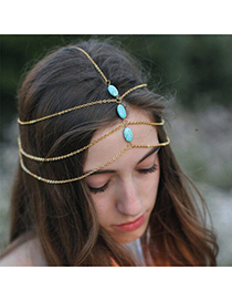 Pantsuit Gold Color Gemstone Decorated Multilayer Design Alloy Hair band hair hoop