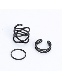 2011 Black Hollow Out Simple Design Alloy Korean Rings