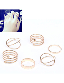 Beauteous Gold Color Multilayer Simple Design Alloy Korean Rings