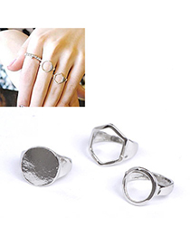 Organic Silver Color Geometrical Shape Decorated Simple Design Alloy Korean Rings