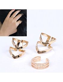 Stylish Gold Color Triangle Shape Decorated Simple Design Alloy Korean Rings