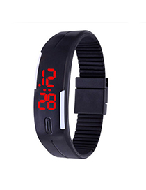 Formal Black Pure Color Creative Simple Design Silicone Ladies Watches