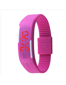 Discount Plum Red Pure Color Creative Simple Design Silicone Ladies Watches