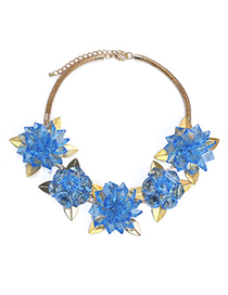 Carters Blue Flower Shape Decorated Simple Design Alloy Fashion Necklaces