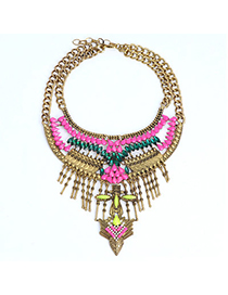 Retro Dark Green Moon Shape Decorated Tassel Pendant Design Alloy Bib Necklaces