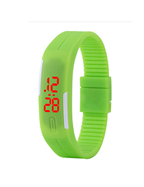 Metallic Green Pure Color Simple Design Silicone Ladies Watches