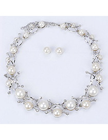 pretty Silver Color Pearl Decorated Hollow Out Design Alloy Fashion Necklaces