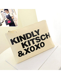 Fashionable White Letter Pattern Simple Design Pu Shoulder Bags