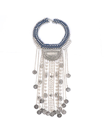 Indian style Silver Color Coin Shape Decorated Long Tassel Design