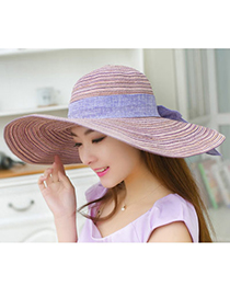Boutique Purple Bow-knot Shape Simple Design Twine Sun Hats