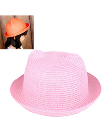 children Light Pink Pure Color Crimping Design Twine Children's Hats