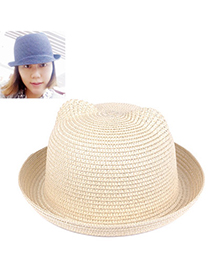 fresh Beige Pure Color Crimping Design Twine Sun Hats