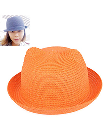 fresh Orange Pure Color Crimping Design Twine Sun Hats