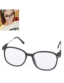 Concise Matte Black Thin Leg Plain Mirror Design Resin Fashon Glasses