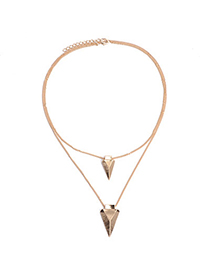 concise Gold Color Triangle Shape Decorated Double Layer Design Alloy Korean Necklaces