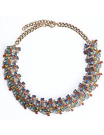 trendy Multicolor Diamond Decorated Irregular Shape Design Alloy Fashion Necklaces