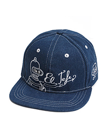 Outdoor Sports Dark Blue Embroideried Letter Pattern Simple Design Denim Baseball Caps