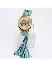 lovely Blue & Yellow Elephant Pattern Decorated Tasel Design Alloy Ladies Watches