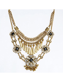 Retro Gold Color Diamond Decorated Hollow Out Flower Design Alloy Fashion Necklaces