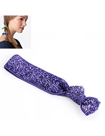 Shiny Light Purple Pure Color Tie Simple Design Rubber Band Hair Band Hair Hoop