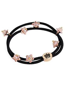Sweet Pink Beads Decorated Flower Design Rubber Band Hair Band Hair Hoop