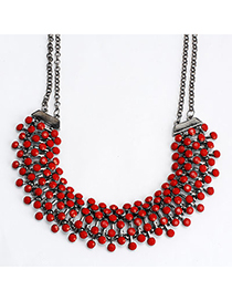 Trendy Red Gemstone Decorated Simple Design