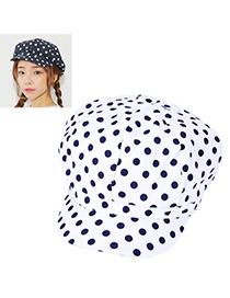 Sweet White Dot Pattern Octagonal Cap Design Cotton Beanies Others