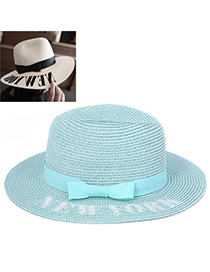 Temperament Mint Green Bowknot Shape Simple Design Paper String Sun Hats