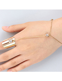 Popular Gold Color Diamond Decorated Simple Design Alloy Korean Fashion Bracelet