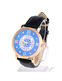 Men Black Weesky Pattern Lovers Style Design Alloy Men's Watches