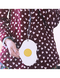 Creative White Poached Egg Shape Decorated Bus Card Package Design Alloy Household Goods