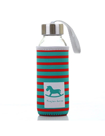 Portable Red & Green 430ml Cartoon Pattern Cloth Case Bottle Design Glass Household Goods