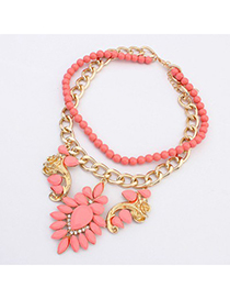 Punk Peach Red Gemstone Flower Decorated Double Layer Design Alloy Fashion Necklaces