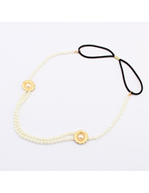 Padded White Double Pearl Design Alloy Hair band hair hoop