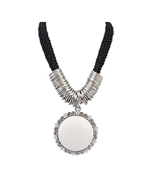 Papyrus White Vintage Round Gemstone Pendant Alloy Bib Necklaces