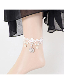 Unusual white pearls decorated lace design alloy Fashion Anklets