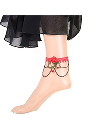 Brown red flower decorated lace design alloy Fashion Anklets