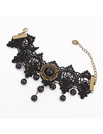 Fused black gemstone decorated lace design alloy Fashion Anklets