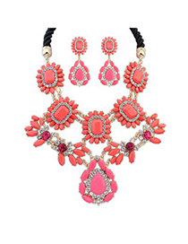 Lightest watermelon red gemstone decorated flower design alloy Jewelry Sets