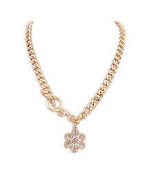 Rent gold color CZ diamond decorated flower pendant design alloy Chains