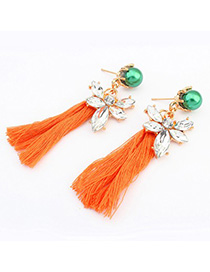 Order orange pearl decorated tassel design alloy Korean Earrings
