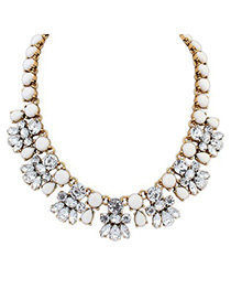 Formal white CZ diamond decorated bee shape design alloy Fashion Necklaces
