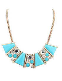 Waxing blue gemstone decorated Trapezoidal design alloy Korean Necklaces