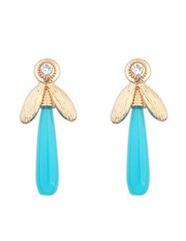 Infinity blue CZ diamond decorated dragonfly shape design alloy Korean Earrings