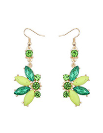 Aquamarine green CZ diamond decorated Butterfly shape design alloy Korean Earrings