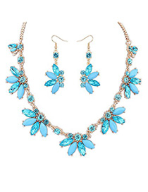 Micro blue CZ diamond decorated Butterfly shape design alloy Jewelry Sets